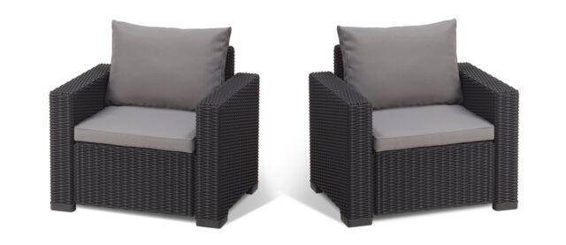2 Chairs Armchair Seat Rattan Indoor Outdoor Garden Set Graphite Grey w/ Cushion