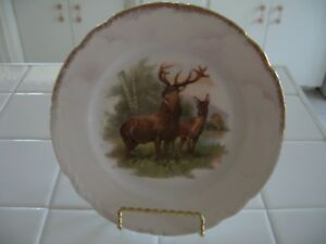 Plates & Chargers Beautiful Vintage Hand Painted Hp Decorator Plate Charger With Deer & Gold Trim Decorative Arts