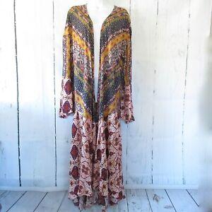 New-Umgee-Duster-Kimono-Cardigan-1X-Floral-Scarf-Bell-Sleeve-Boho-Plus-Size
