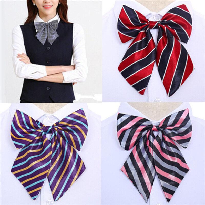 Women Bowties Striped Bow Ties Silk Tie Bow Tie Butterfly Neck Wear Collar *