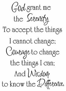 Details about Religous Bible verse quote Saying Vinyl lettering wall art  decor Serenity Prayer
