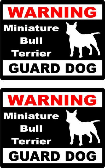 2 warning Miniature Bull Terrier guard dog bumper home car window vinyl stickers