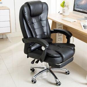 Massage-Buerostuhl-Chefsessel-Schreibtischstuhl-Drehstuhl-Buero-Gaming-Fussablage