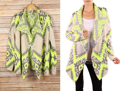 NEON YELLOW BEIGE (15) AZTEC TRIBAL CARDIGAN THICK Print Sweater Jacket S M L