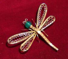 Vintage Krementz Dragonfly Pin 14k Gold OverlayChrysoprase Head Brooch  117hsz