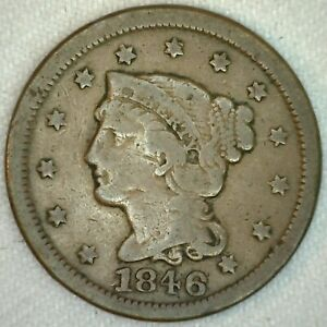 1846 Braided Hair US One Cent Penny Coin 1c Large Cent Copper Coin Good