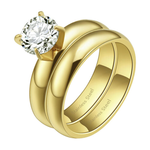 *NEW* 2pcs Engagement Stainless Steel CZ Wedding Rings Gold//Silver For Women Men