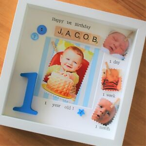 Babys First 1st Year Birthday Scrabble Gift Baby Frame Personalised