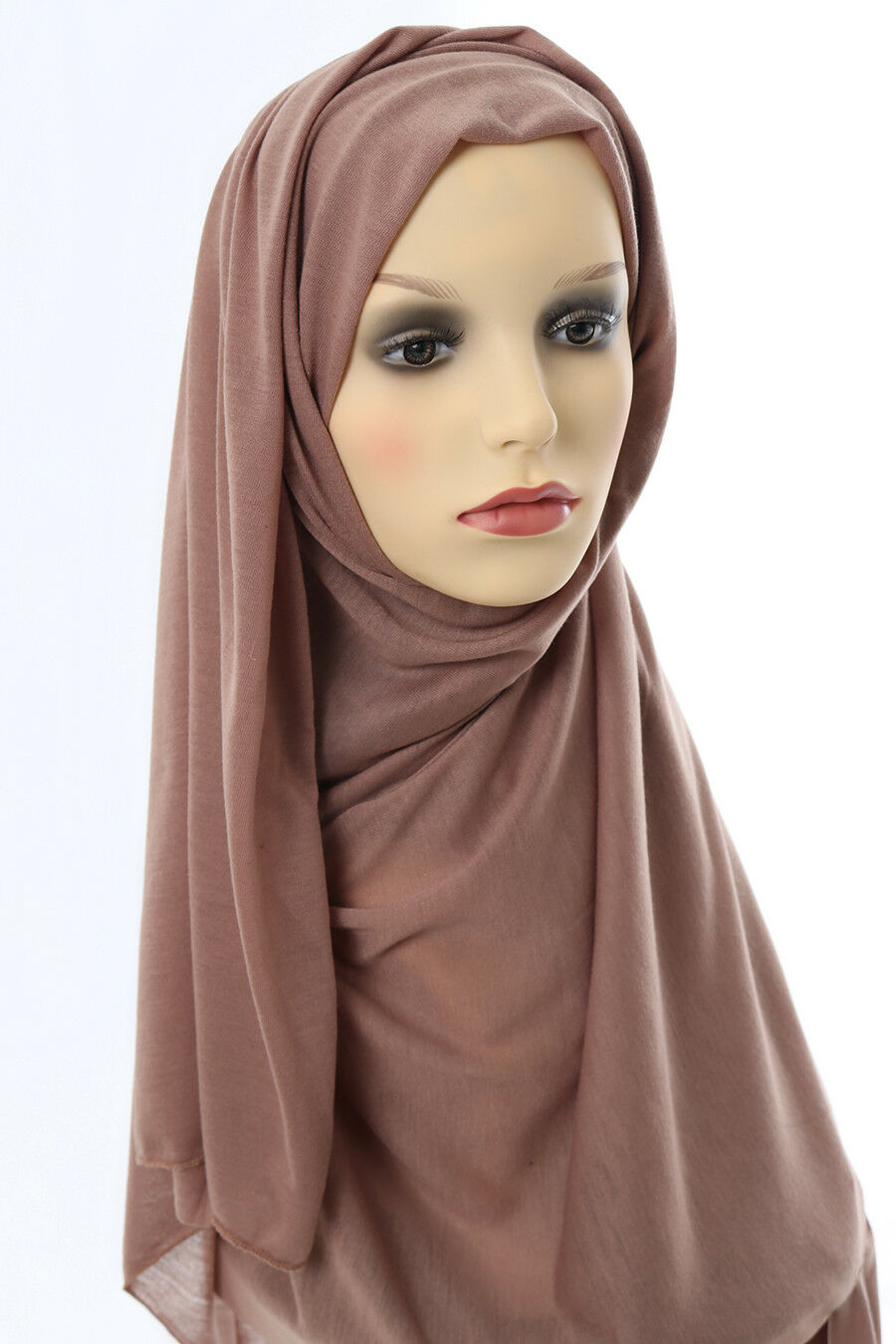 3e2af3165 Details about Head Scarf Hijab Large Headscarf Maxi Jersey Plain Muslim  Islam Head Cover Brown