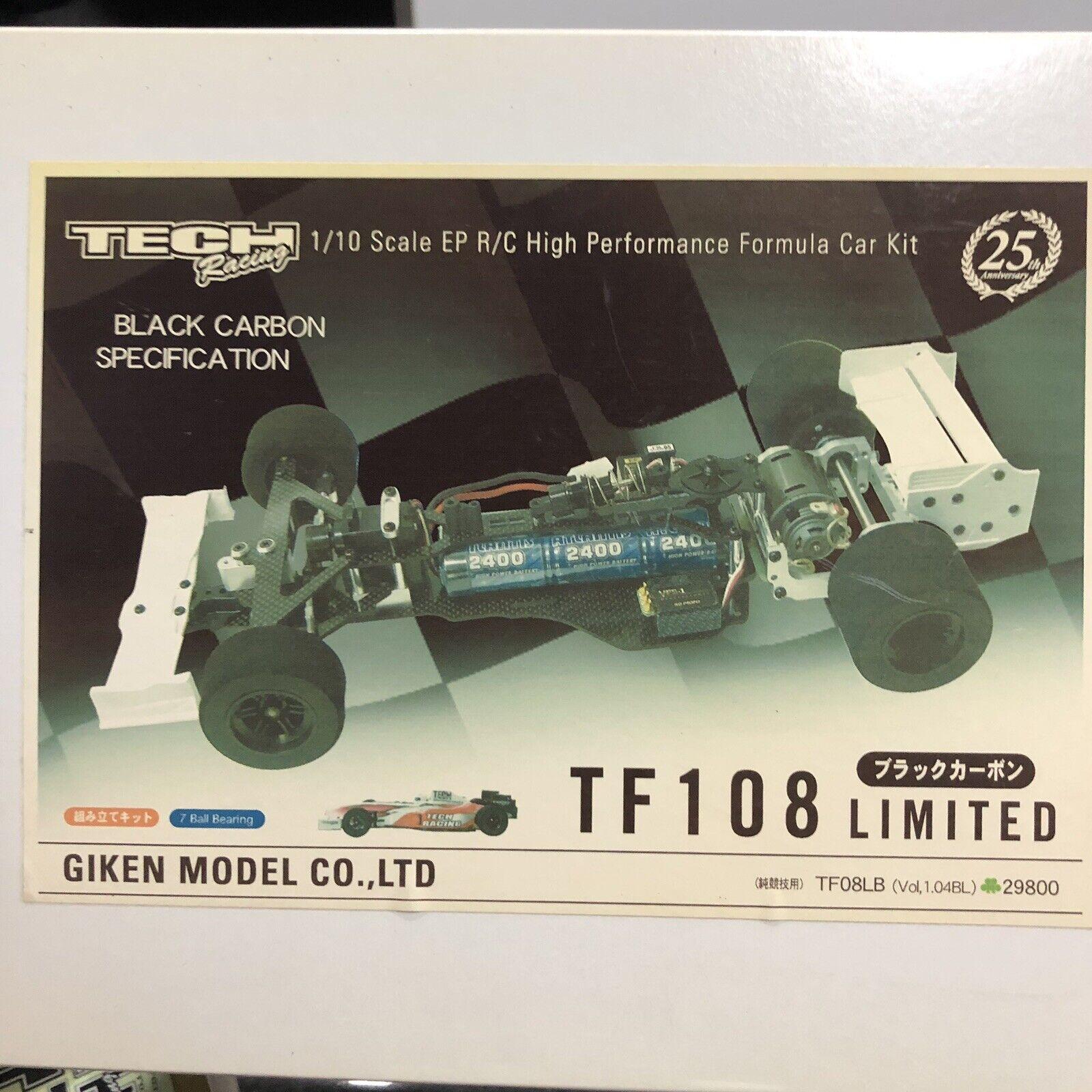 NIB Rare Limited  edizione Tech Racing 1 10 RC F1 Chassis Set TF108 gratuito SHIPPING  negozio outlet