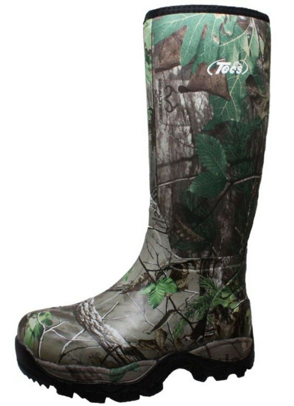Tecs Men's 16  RealTree Camouflage Rubber Rain Boot Camo Brown Green 9735