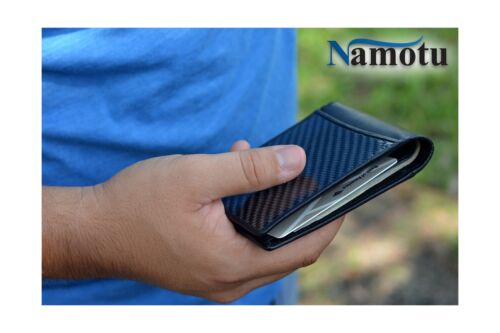 Real Carbon Fiber Wallet w// RFID blocking tech Leather at hinges and trim ...