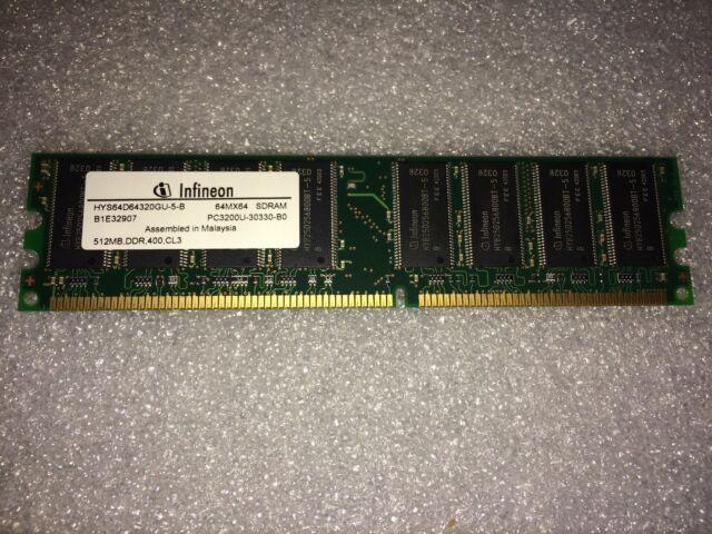 Memoria DDR Infineon HYS64D64320GU-5-B 512MB PC3200 DDR-400MHz CL3 184 Pin