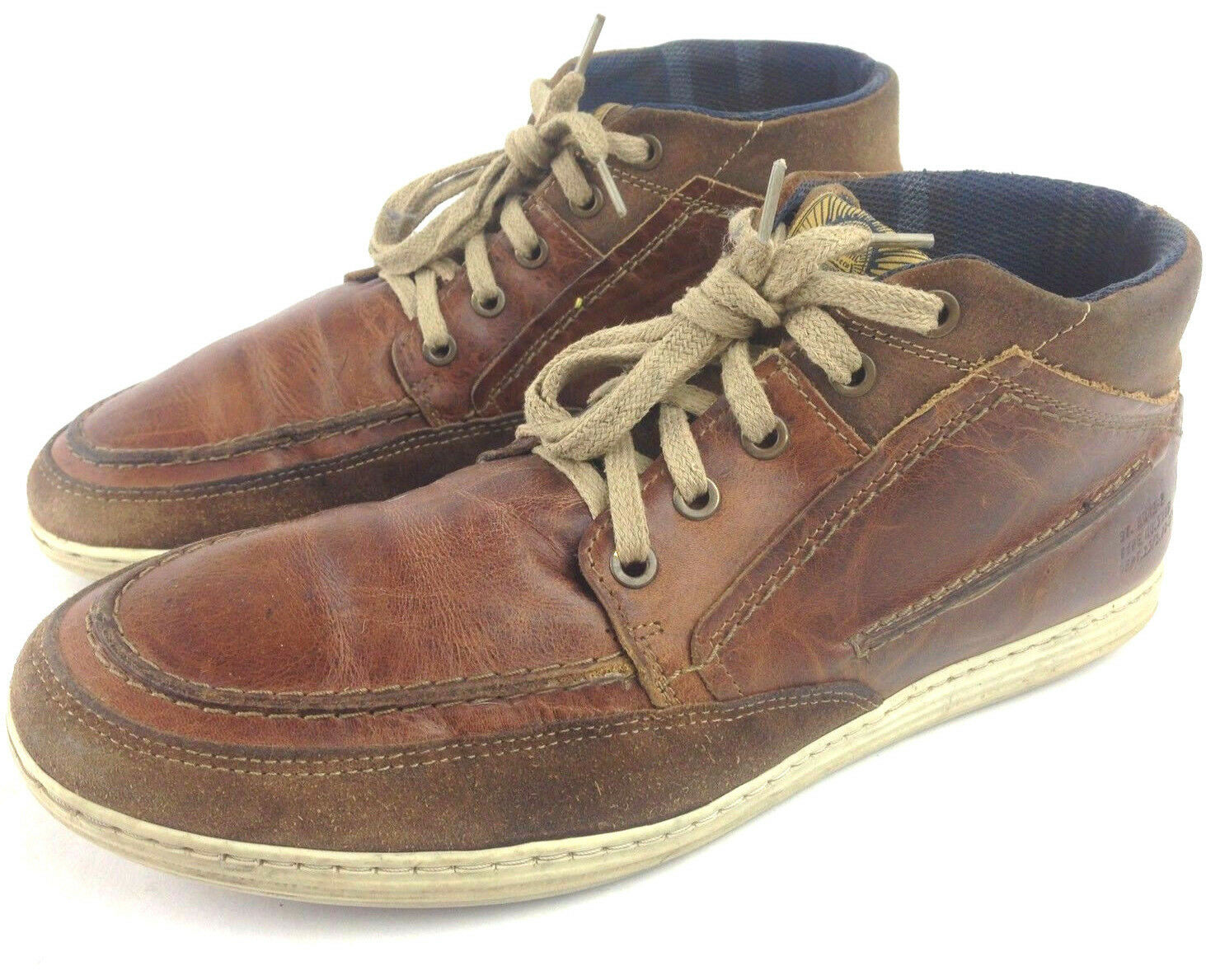 Bull Boxer Mens 10 Brown Distressed Leather Suede Fashion Hightop Casual Sneaker