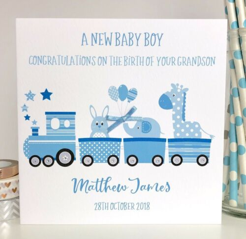 Personalised New Baby Grandson Card New Grandparents New Grandchild Card Train