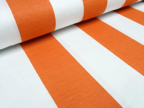Stoff Viskose Jersey Bordendruck mit 5 cm Blockstreifen orange weiß Kleiderstoff