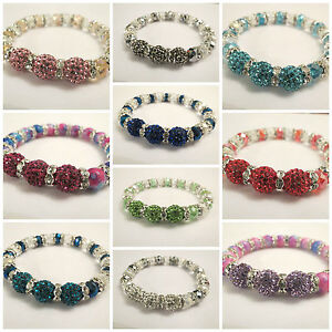 SHAMBALLA-STYLE-3PCS-X-1OMM-CRYSTAL-CLAY-BEADS-STRETCH-BRACELETS