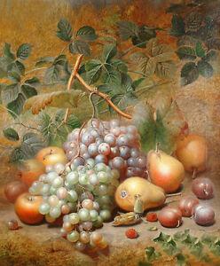 Dream-art Oil painting nice still life fruits grape Plums apple pear canvas art