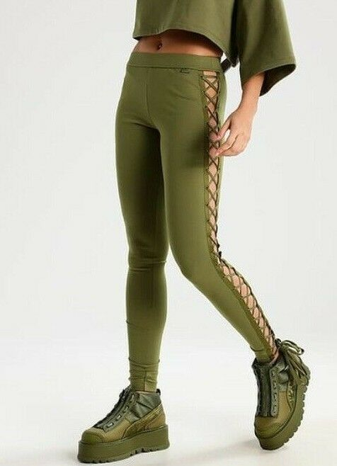 NWT Puma Fenty Rihanna Womens Leggings XS Olive Boxing Bomber Lacing Tight Long