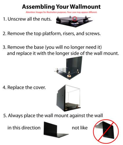"A015-BR Versatile Wall Mount Display Case Black Risers 7.75/"" x 7.75/"" x 8.5/"""