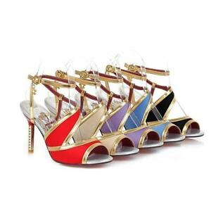 Chic-Womens-Open-Toe-Slingback-Stilettos-High-Heel-Sandals-Party-Shoes-Plus-Size