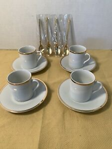 Demitasse-Cups-Saucers-4-Gold-Spoons-Lord-And-Taylor-White-Gold-Ring
