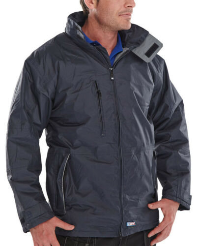 Hood S B-Dri Mercury Navy Blue Waterproof Parka Lined Work Jacket Coat 5XL