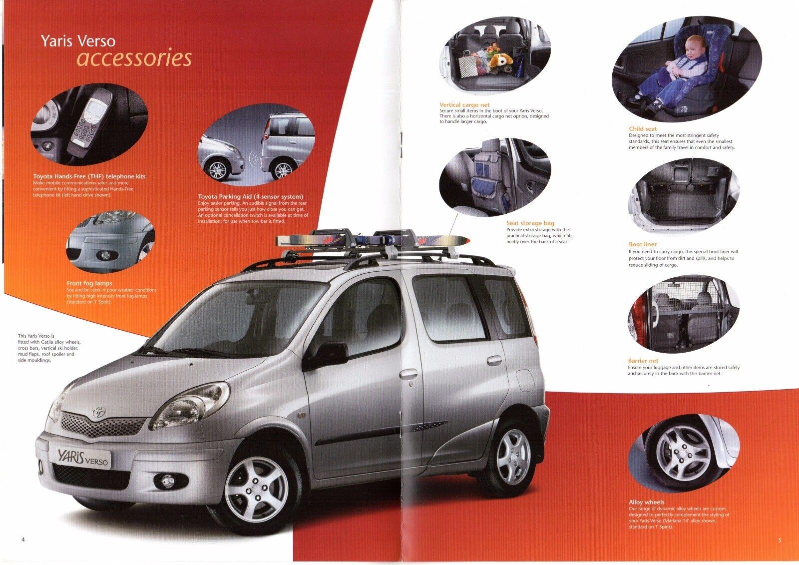 Toyota Yaris Verso Accessories 2003 05 Uk Market Sales Brochure For Sale Online