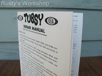 Reproduction 1967 Ideal TUBSY doll operating INSTRUCTIONS