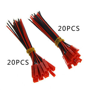 20-Set-100mm-Male-Female-JST-Plug-2-pin-Connector-Cable-Wire-For-RC-Battery
