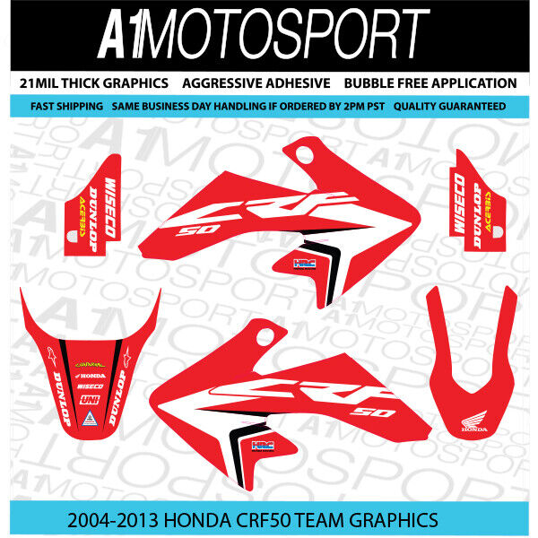 Honda CRF50 OEM-Red Factory HRC Team Graphics 2004-2013 21mil Thick Laminated 2