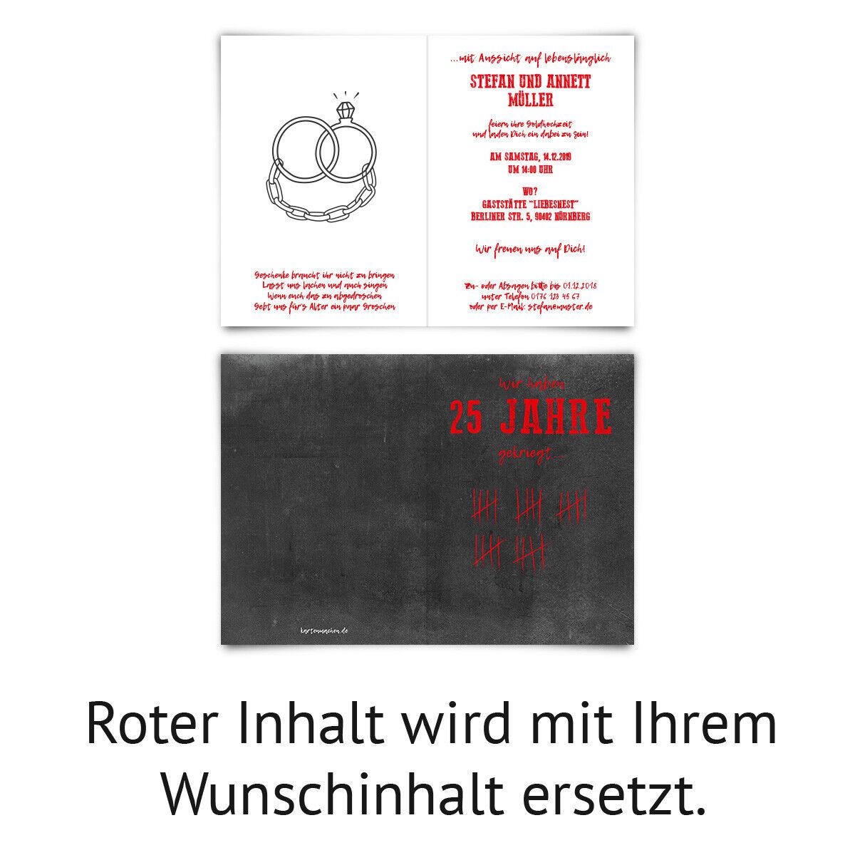 Hochzeitseinladungen individuelle Einladungskarten Silberhochzeit Silberhochzeit Silberhochzeit - Strichliste db8e8c