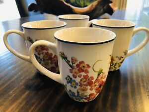 Pottery-Barn-Floral-Bunny-Easter-Coffee-Mugs-Set-4-Tabletop-Cups-Discontinued