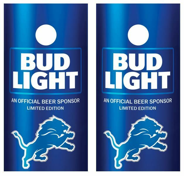 Bud Light   Detroit Lions Cornhole Board Skin Wrap FREE Laminate