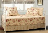Daybed Shabby Chic Antique Tea Roses Chic 5 Piece Quilt Set
