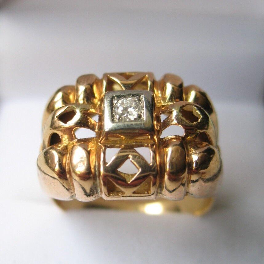 BAGUE TANK en OR 18K Avec Diamant ART DECO 1920 18K gold Ring With Diamond