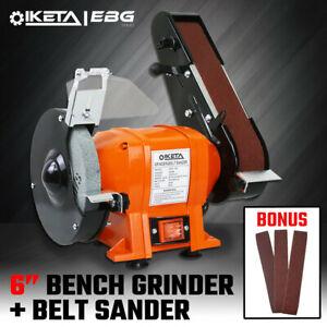 """6"""" Bench Grinder & Belt Sander Linisher Sharpener Polisher Industrial Workshop"""