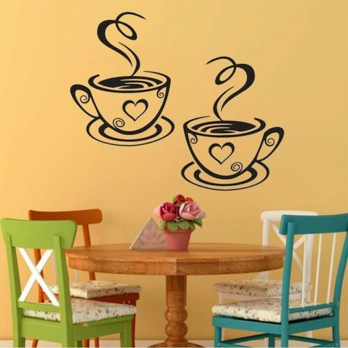 Coffee Cups Wall Stickers Decor Kitchen Cafe Tea Decal Mural Art Vinyl Cute Home