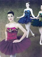 NWT Gold Gilded Short Ballet Costume Graduated Tutu Velvet w/accessories 3 colrs