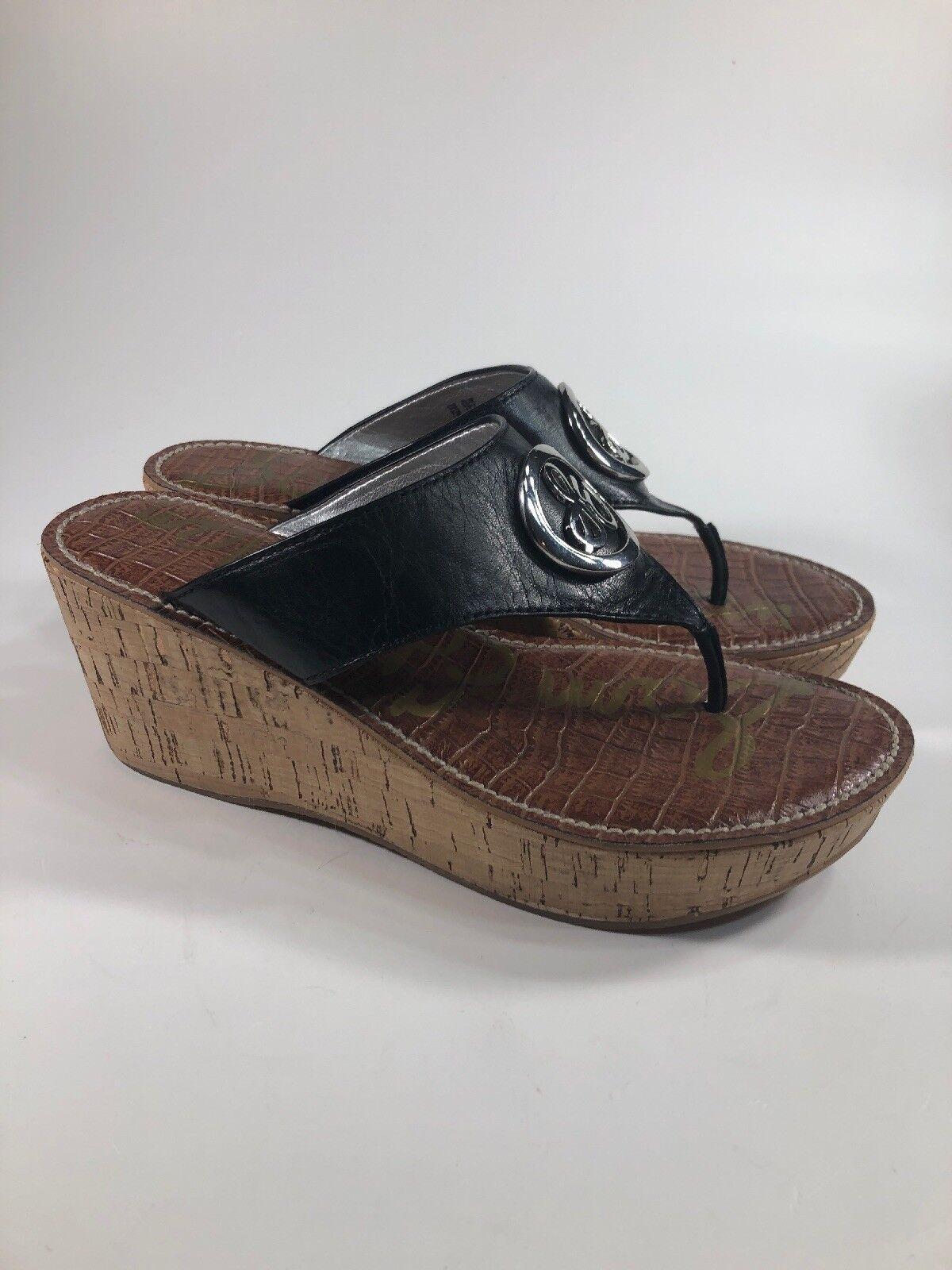 Sam Edelman RUTH Black Leather Silver Logo Logo Logo Cork Wedges shoes Womens Size 7 M 6622e3