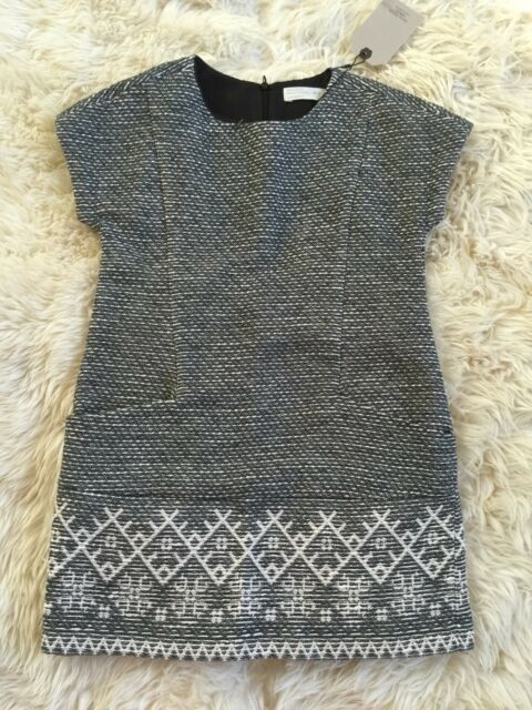 28ad13232 New Zara Girls Grey White Tweed Dress Size 7