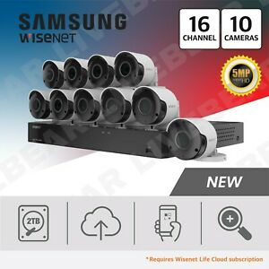 Details about Samsung Wisenet SDH-C85105BF 16 Ch 5 MP 2 TB Super HD System  with 10 Cameras