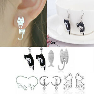 Fashion-Crystal-Pearl-Cat-Animal-Stainless-Steel-Ear-Stud-Earrings-Women-Jewelry