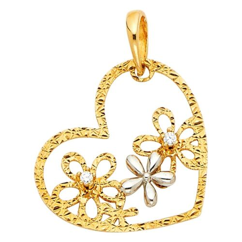 Flower Heart Pendant Solid 14k Yellow White Gold Charm Love Floral CZ 20 x 15 mm