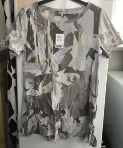 Ladies-Next-Grey-With-Multi-Coloured-Design-Tunic-Top-Size-12-Brand-New