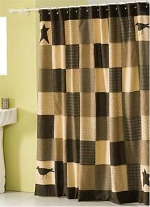 Details About New Primitive Country STAR CROW QUILT BLOCK Black Tan Fabric Shower Curtain
