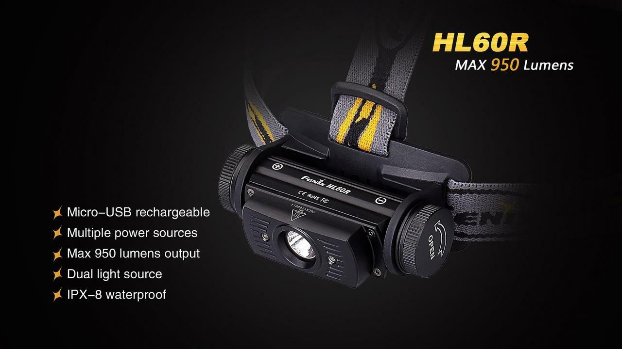 Fenix HL60R 950 Lumens Desert Gelb TAN Rechargeable Headlamp with with Headlamp USB Adapters 94ce26