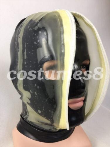 New Latex 100/% Rubber Mask Double decker zipper Open Eyes Mouth Nostril XXS-XXL