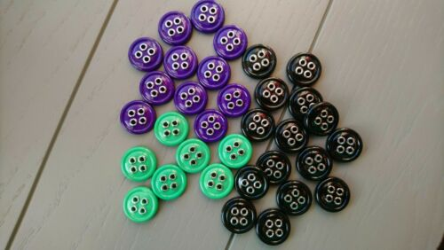 Black Choice of Pack Size 15mm 4 Hole Plastic Buttons Green or Purple Buttons