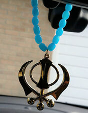 Gold Plated Punjabi Sikh Large Khanda Pendant Car Hanging in Turquoise Beads